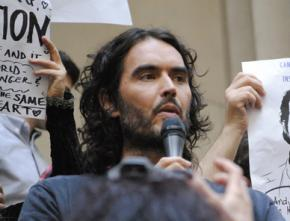 Russell Brand speaks at a demonstration in New York City