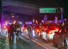 Demonstrators in Oakland marked onto one of the Bay Area highways to blockade it