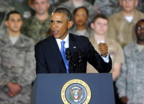 President Barack Obama speaks to U.S. soldiers