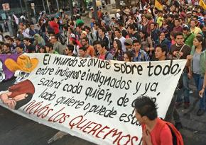 Students in Mexico City show their solidarity with the 43 disappeared students