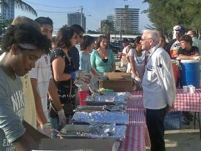 Members of Love Thy Neighbor distribute food in Broward County, Florida