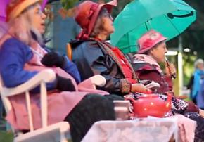 Raging Grannies camped out in front of the hearings in Olympia on crude oil trains