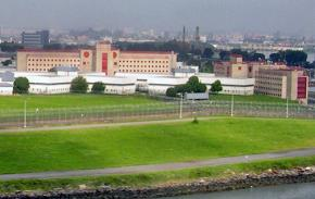 Some of the prison buildings at Rikers Island