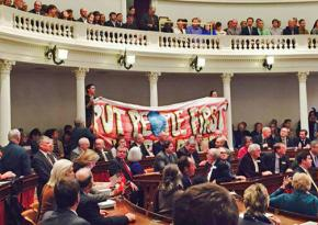 Vermonters protest the governor's broken promise to enact a single-payer health care system