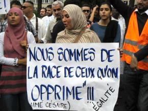 Supporters of the Parti des Indigènes de la République protest Islamophobia