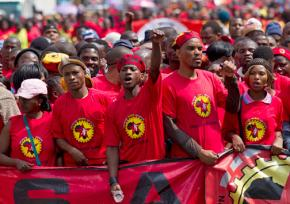 Members of the National Union of Metalworkers on strike in South Africa