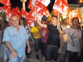 Supporters of DEA and SYRIZA rally against austerity
