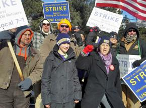 USW oil workers on the picket line in Whiting, Indiana