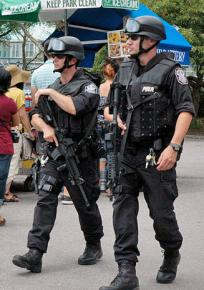 New York police on patrol with machine guns