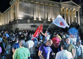 Protesting austerity in Syntagma Square outside the Greek parliament building