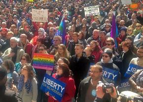 Indiana protests the passage of legalized discrimination against LGBT people