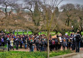 A walkout at the University of Washington led by Outside Agitators 206