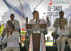 Mexico's President Enrique Peña Nieto speaks at a state oil industry facility that is on the privatization block