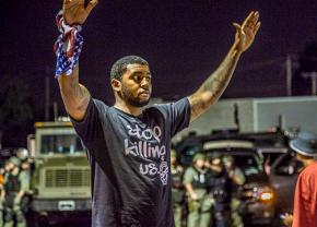 On the streets of Ferguson protesting police violence
