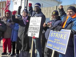 USW strikers and supporters on the picket line outside a Whiting, Indiana, refinery