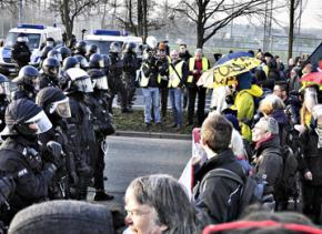 Demonstrators face off against police at the Blockupy demonstration in Frankfurt