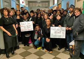 Teachers at PS 219 in Brooklyn send a message to Andrew Cuomo