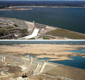 Folsom Lake, a California water reservoir, photographed in 2011 (above) and 2014