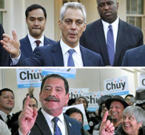 Rahm Emanuel (above) and Chuy García on the campaign trail