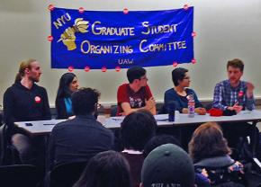 Members of GSOC and their supporters speak out at a campus forum