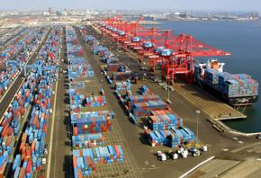 Containers stacked up at the Port of Long Beach