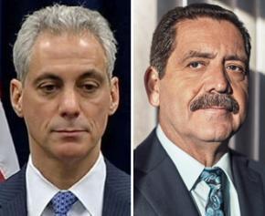 "Rahm Emanuel (left) and Jesús ""Chuy"" García"