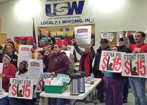 Fight for 15 activists bring solidarity to the USW union hall in Whiting, Indiana