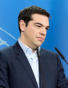 Alexis Tsipras at a news conference at the European Parliament