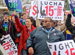 Protesters march for $15 an hour and a union in Chicago