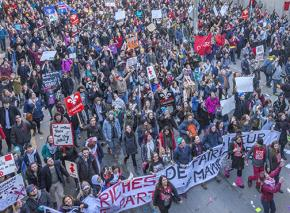 Tens of thousands took to the streets for a mass demonstration in Quebec