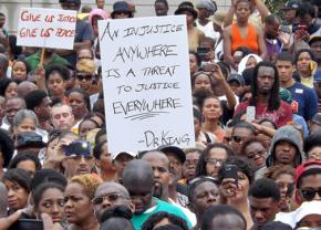 Protesters gathered in the wake of the not-guilty verdict for George Zimmerman