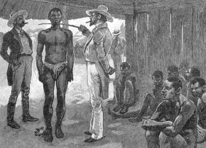 A depiction of a slave auction