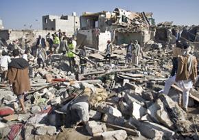 Destruction caused by Saudi Arabia's air assault on Yemen