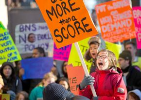 Students, parents and teachers rally against testing at a Brooklyn school