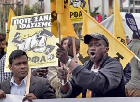 Immigrants lead a protest against Greek fascists of Golden Dawn