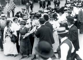 Women members of the IWW lead a march in Manhattan during the Patterson Silk Strike of 1913