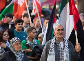 A demonstration in Berlin to mark the Palestinian Nakba