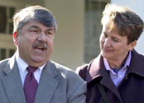 AFL-CIO President Richard Trumka alongside SEIU President Mary Kay Henry