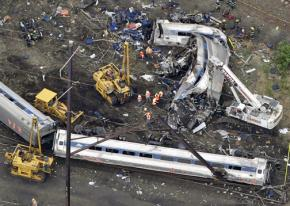 Wreckage from the Amtrak derailment in Philadelphia