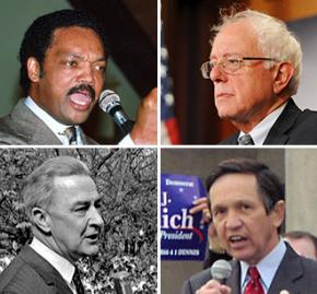 Clockwise from top left: Jesse Jackson, Bernie Sanders, Dennis Kucinich and Eugene McCarthy