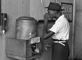 A segregated water fountain during the Jim Crow era