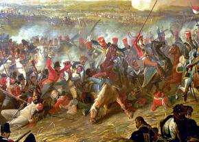 A painting depicting a cavalry charge of British troops against French soldiers during the Battle of Waterloo