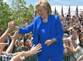 Hillary Clinton at a campaign speech on New York City's Roosevelt Island