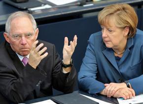German Finance Minister Wolfgang Schäuble (left) with Chancellor Angela Merkel