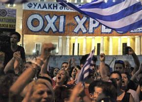 """Protesters gathered in front of parliament for a huge """"no"""" vote demonstration"""