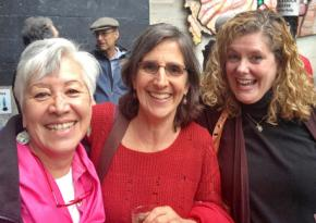 From left to right: Claudia Haas, Lita Blanc and Rose Curreri celebrate the EDU victory