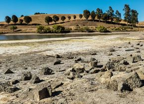 A dried-up lake bed in California