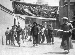 Marching in the Chinese city of Shanghai in 1927