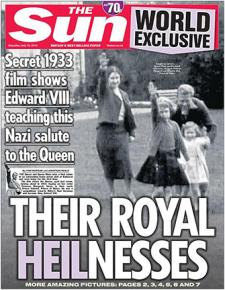The Sun newspaper cover showing a 7-year-old Queen Elizabeth giving the Nazi salute.