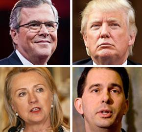 2016 presidential contenders, clockwise from top left: Jeb Bush, Donald Trump, Scott Walker and Hillary Clinton